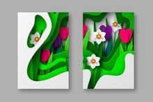 Spring Floral Banners, Paper Cut Carving Art.