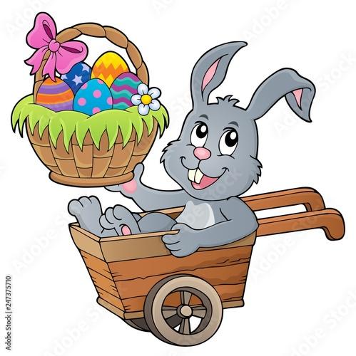 Poster Voor kinderen Easter bunny in wheelbarrow image 2