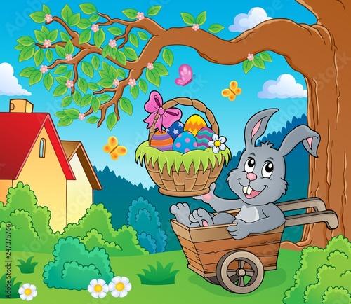 Poster Voor kinderen Easter bunny in wheelbarrow image 3