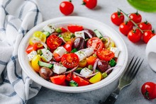 Greek Salad With Fresh Cucumbe...