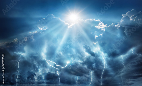 Foto op Plexiglas Onweer Religious and scientific apocalyptic background. Dark sky with lightning and dark clouds with the Sun that represents salvation and hope.