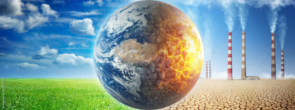 Fototapety, obrazy: Earth on a background of grass and clouds versus a ruined Earth on a background of a dead desert. Concept on ecology, global warming, science, education, etc.