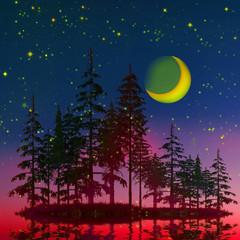 Fototapeta3D illustration. Colorful artistic wildlife landscape.