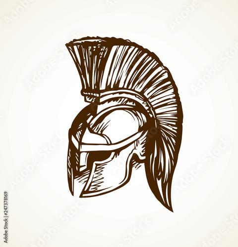 Photo Spartan helmet. Vector drawing