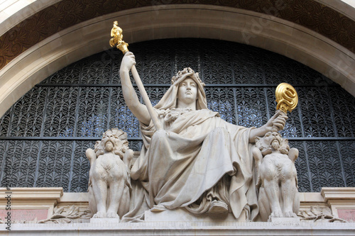 Statue of prudence on the BNP building in Paris Canvas Print