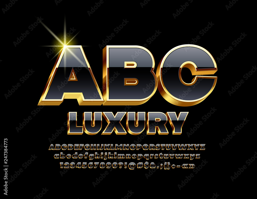 Fototapety, obrazy: Vector Luxury Golden and Black Font. Chic 3D Alphabet Letter, Numbers and Symbols.