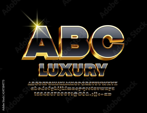 Fotografia  Vector Luxury Golden and Black Font