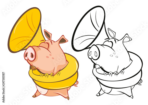 Foto op Aluminium Babykamer Vector Illustration of a Cute Pig Musician. Coloring Book Cartoon Character