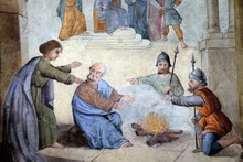 Peter Denies Jesus Before The Rooster Crows Three Times, Fresco In The Church Of Saint Matthew In Stitar, Croatia