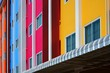 Windows pattern and balusters lines on colorful multicolored facade over steel awning on modern style in architecture design concept