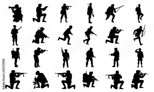 Leinwand Poster collection of images of army silhouettes