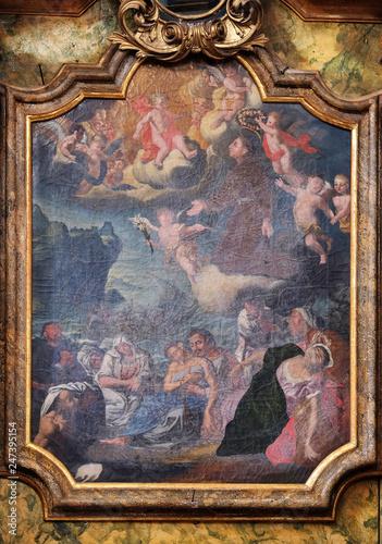 Fototapeta Saint Anthony altarpiece in the church of Saint Leonard of Noblac in Kotari, Cro
