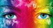 canvas print picture - Rainbow color face