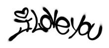 Sprayed I Love You Font Graffi...
