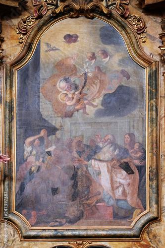 Fotografia, Obraz Saint Joseph holding baby Jesus altarpiece in the church of Saint Leonard of Nob