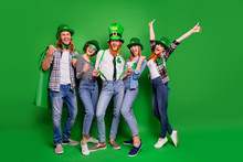 Full Length Body Size Photo Cheer Five Company Celebrate Winning Hands Arms Up Spend Holiday Tradition National Specs Casual Outfit Saint Paddy Day Laugh Laughter Isolated On Bright Green Background