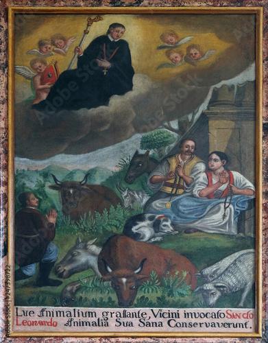 Obraz na plátne Saint Leonard treat people and animals, altarpiece in the church of Saint Leonar