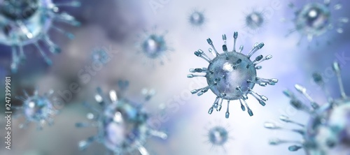 Photographie Virus closeup, microorganism, a microscopic organism, especially a bacterium, vi