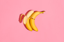 Two Banana Fresh Fruit On Pink Background