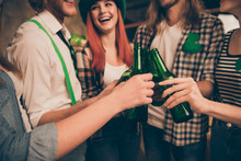 Cropped Photo Ireland Style Tradition Gathering St Paddy Day Company Beer Beverage In Hands Laugh Laughter Good Toasting Weekend Vacation Rest Relax Party Green Colored Outfit Clothes Trendy Stylish