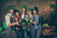 Close Up Photo Group Company Hands Arms Raise Irish Beer Beverage Bottles Scream Shout Bar Pub Funky Carefree Specs Every Year National Culture Tradition St Paddy Day Weekend Vacation Leisure Rejoice