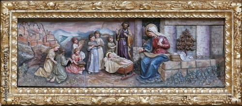 Nativity Scene, altarpiece on the altar of Our Lady in the church of Saint Matth Wallpaper Mural