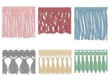 Garment Fringe. Ruffle Seam Trim, Raw Textile Edge And Tassel Braid Ruffles Isolated Seamless Patterns Illustration Set
