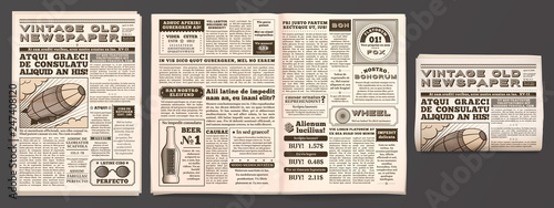 Obraz Vintage newspaper mockup. Retro newsprint pages, tabloid magazine and old news isolated 3D vector template - fototapety do salonu