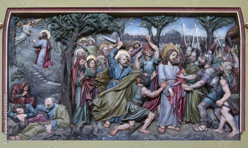 Fotografie, Obraz  Judas kiss, Jesus in the Garden of Gethsemane, altarpiece in church of Saint Mat