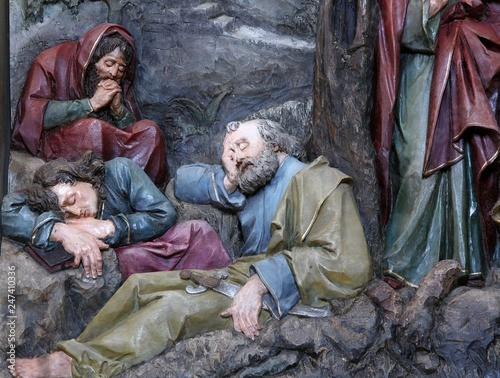 Sleeping Disciples, altarpiece in church of Saint Matthew in Stitar, Croatia Fotobehang