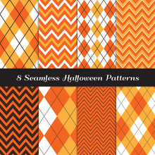 Halloween Orange, Yellow, White And Brown Argyle And Chevron Vector Patterns. Candy Corn Zigzag Stripes. Thanksgiving Backgrounds. Repeating Pattern Tile Swatches Included.