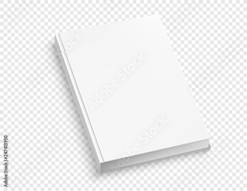 Fotografering  White hardcover book vector mock up isolated on white background.