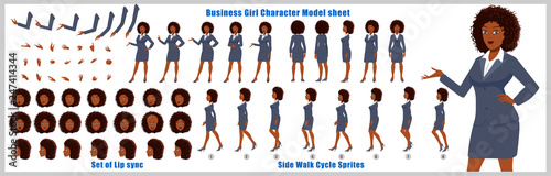 Fotografie, Obraz  Character Model sheet with walk cycle animation sprites and lip syncing