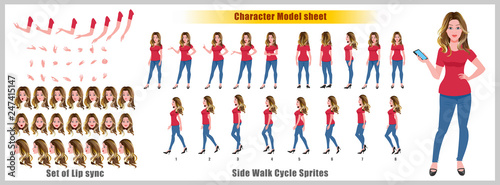 Character Model sheet with walk cycle animation sprites and lip syncing  - 247415147