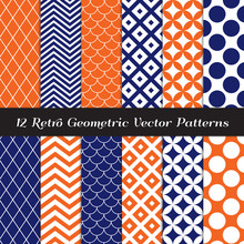 Navy Blue, Orange And White Retro Geometric Vector Patterns. Elegant Backgrounds In Chevron, Quatrefoil, Jumbo Polka Dot, Diamond Lattice And Scallops. Repeating Pattern Tile Swatches Included.
