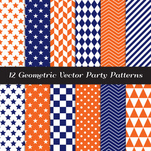 Navy Blue, Orange And White Geometric Vector Patterns. Herringbone, Harlequin, Triangles, Chevron, Dots, Checks, Stars & Stripes Print Backgrounds. Repeating Pattern Tile Swatches Included.