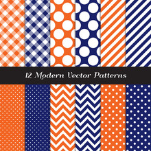 Navy Blue, Orange And White Polka Dots, Gingham, Chevron And Candy Stripes Vector Patterns. Modern Geometric Backgrounds. Repeating Pattern Tile Swatches Included.