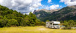 Leinwandbild Motiv Motorhome in Chilean Argentine mountain Andes. Family trip travel vacation on Motorhome RV in Andes.