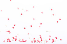 Heart Shaped Sprinkles On White Background