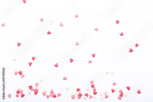 Fotografía  Heart shaped sprinkles on white background