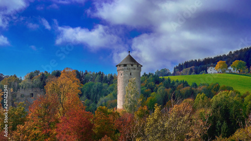 Old medieval castle tower on a hill in the forest in Europe on a bright sunny day