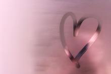 Heart On Wet Mirror. Concept Love