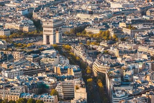 Arc de Triomphe in Paris aerial panoramic view Canvas-taulu