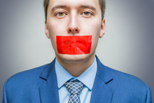 Censorship Concept. Man Is Sil...