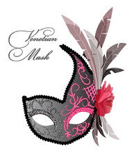 Vector Design Of Venetian Mask With Feathers And Rose Flower