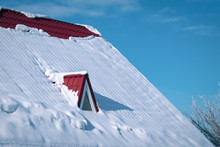 Snow-covered Roof Red Metal Tile