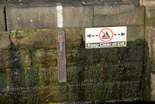 Keep Clear Of Cill Sign At Water Dam Way For Passing Of Canal Boat
