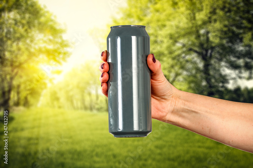 Spoed Foto op Canvas Bier / Cider Hand with free space for your beer .