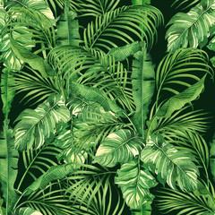Panel Szklany Podświetlane Do przedpokoju Watercolor painting coconut,banana,palm leaf,green leave seamless pattern background.Watercolor hand drawn illustration tropical exotic leaf prints for wallpaper,textile Hawaii aloha jungle style.
