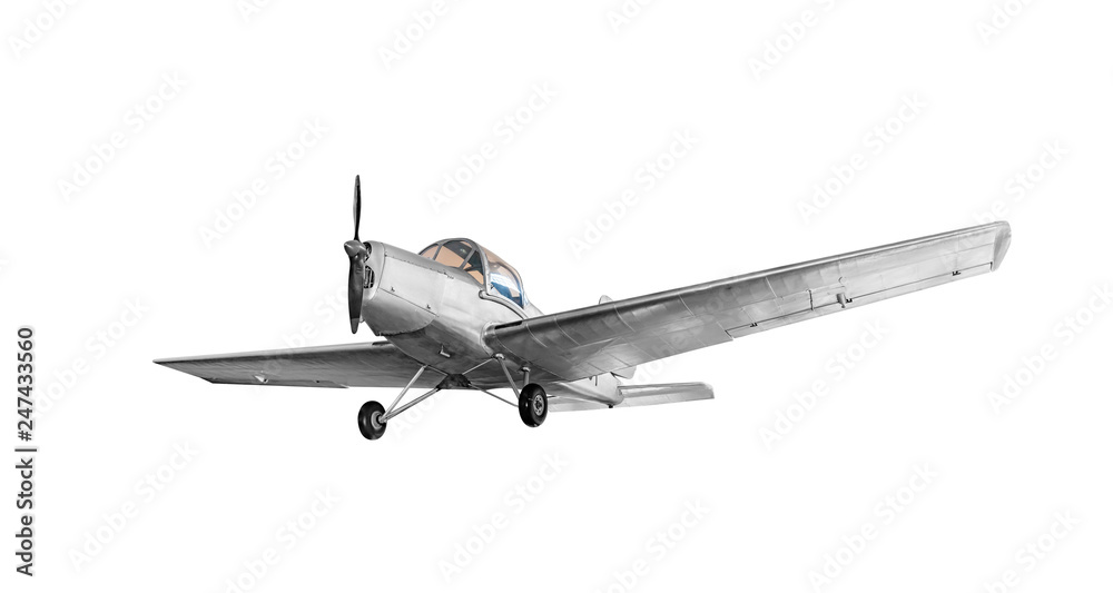 Fototapety, obrazy: Old vintage airplane isolated on white background.